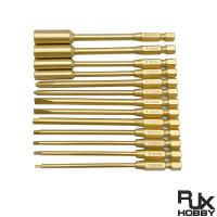 RJX 6.35mm  13pcs  Hex Nut Phillips Flat Screwdriver bits
